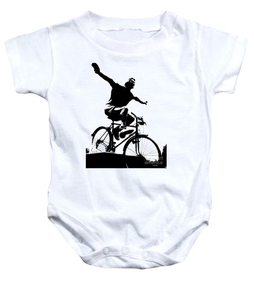 Bicycle - Black And White Pixels Baby Onesie