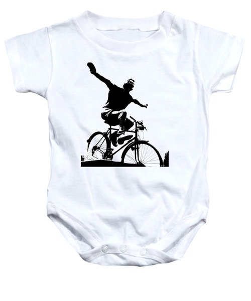 Bicycle - Black And White Pixels Baby Onesie