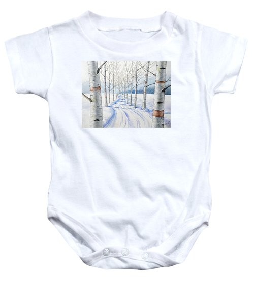 Birch Trees Along The Curvy Road Baby Onesie