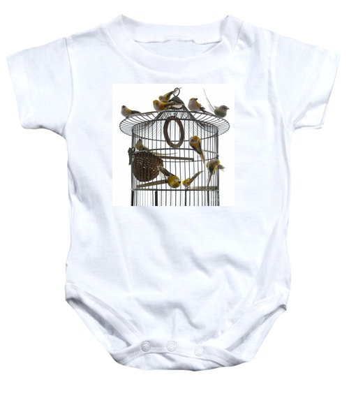 Birds Inside And Outside A Cage Baby Onesie