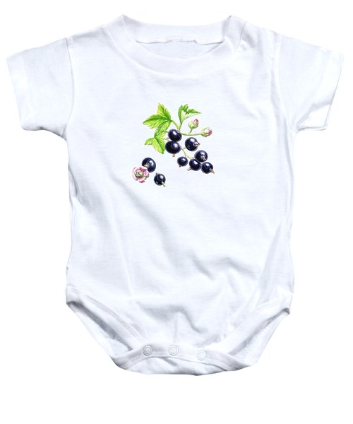 Baby Onesie featuring the painting Blackcurrant Botanical Study by Irina Sztukowski