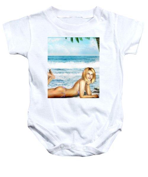 Blonde On Beach Baby Onesie