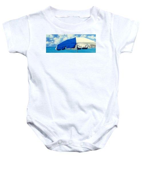 Blue Beach Umbrellas 1 Baby Onesie