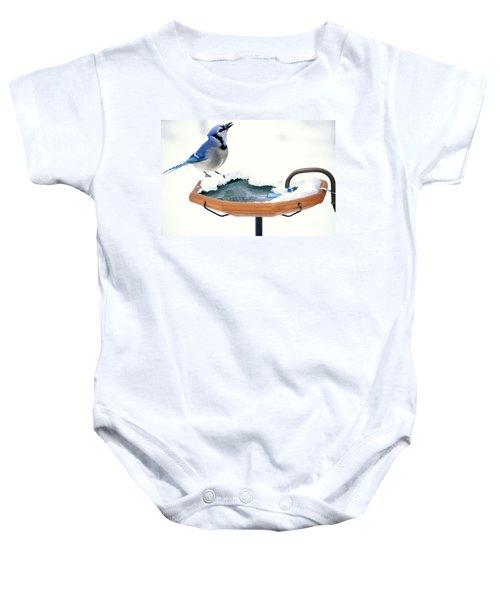 Blue Jay At Heated Birdbath Baby Onesie by Steve and Dave Maslowski