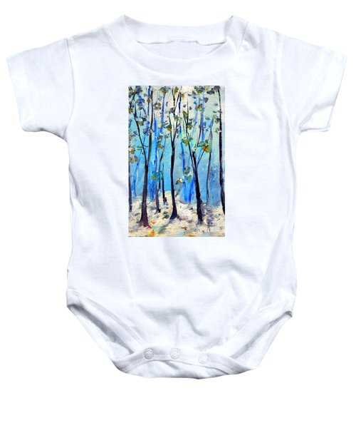 Blue Thoughts In Winter Baby Onesie