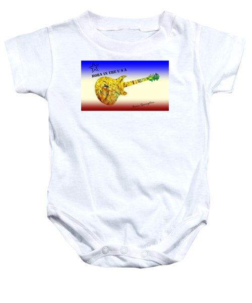 Baby Onesie featuring the painting Born In The U S A Bruce Springsteen by David Dehner