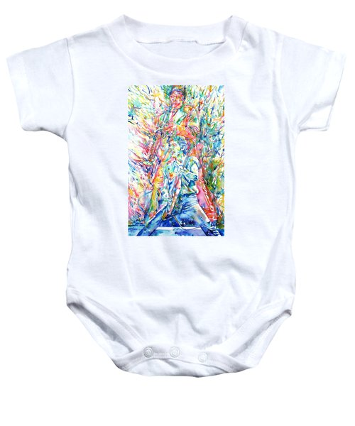 Bruce Springsteen And Clarence Clemons Watercolor Portrait Baby Onesie by Fabrizio Cassetta