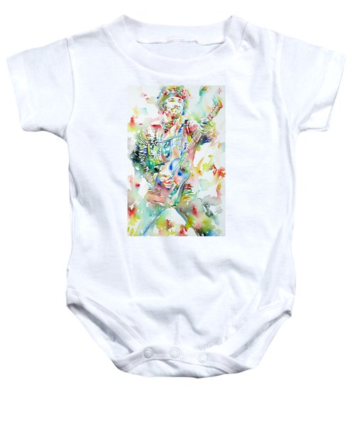 Bruce Springsteen Playing The Guitar Watercolor Portrait Baby Onesie by Fabrizio Cassetta