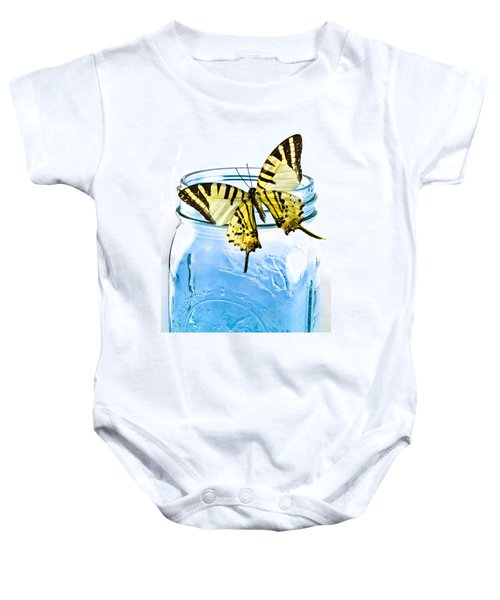 Butterfly On A Blue Jar Baby Onesie by Bob Orsillo