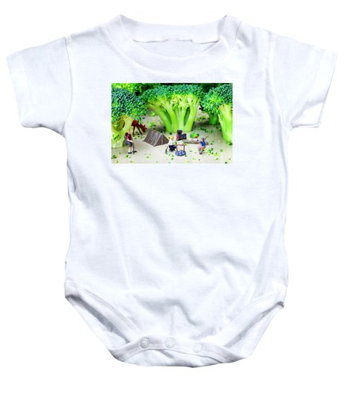 Camping Among Broccoli Jungles Miniature Art Baby Onesie by Paul Ge