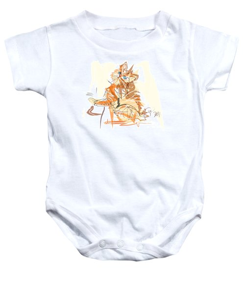 Baby Onesie featuring the painting Cat Little Tiger Kitty by Go Van Kampen