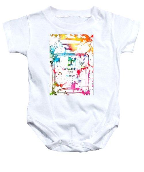 Chanel Number Five Paint Splatter Baby Onesie