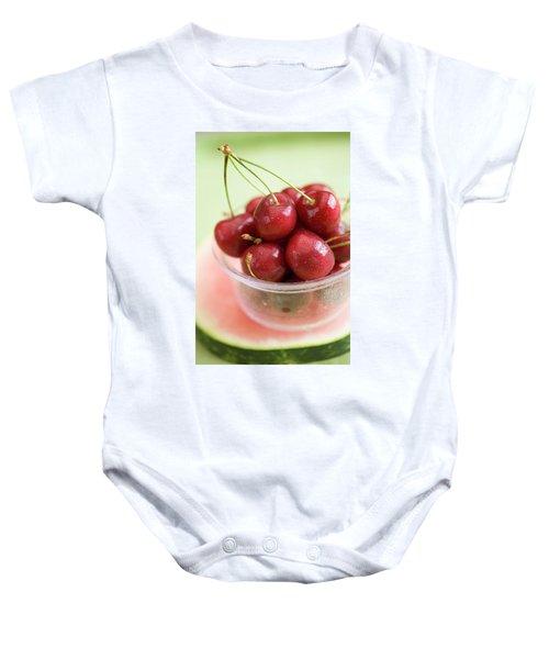 Cherries In Plastic Tub On Slice Of Watermelon Baby Onesie
