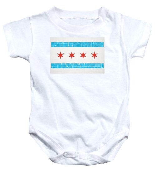 Chicago Flag Neighborhoods Baby Onesie by Mike Maher