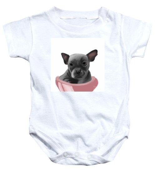 Chihauhau In A Bowl Baby Onesie