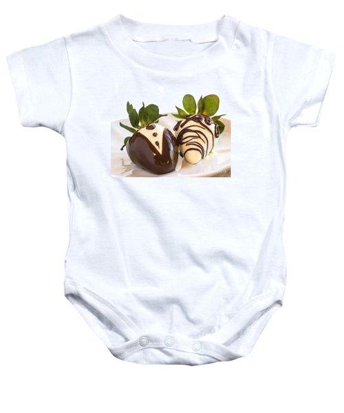 Chocolate Strawberry Tuxedo Baby Onesie