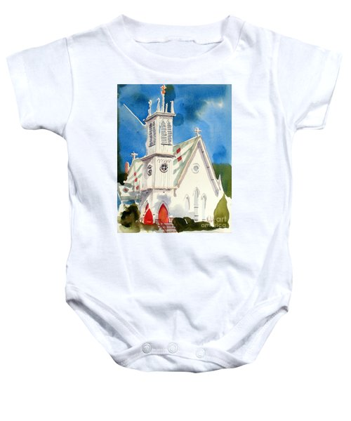 Church With Jet Contrail Baby Onesie