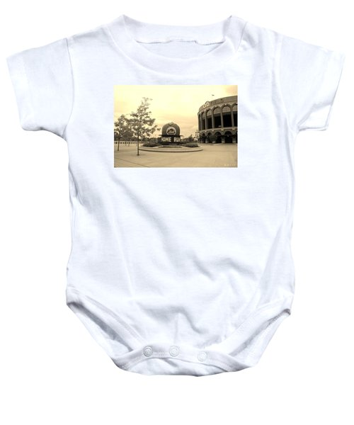 Citi Field In Sepia Baby Onesie