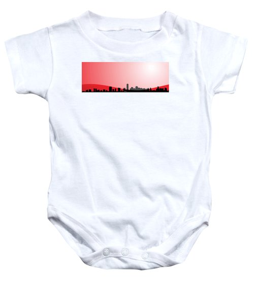 Cityscapes - Miami Skyline In Black On Red Baby Onesie by Serge Averbukh