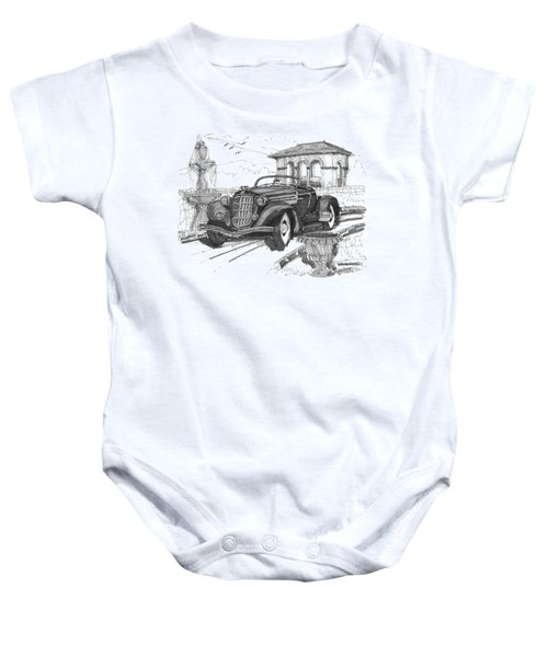 Classic Auto With Formal Gardens Baby Onesie
