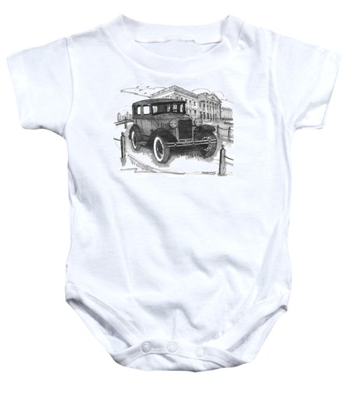 Classic Auto With Mills Mansion Baby Onesie