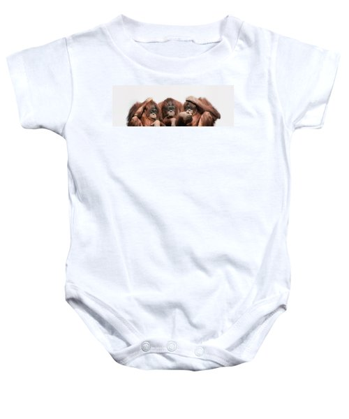 Close-up Of Three Orangutans Baby Onesie by Panoramic Images