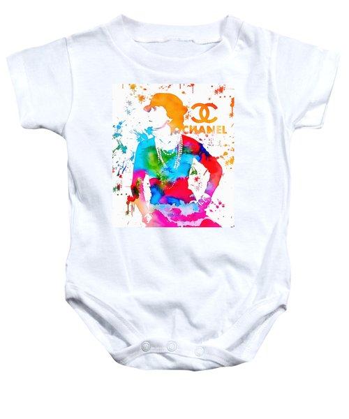 Coco Chanel Paint Splatter Baby Onesie