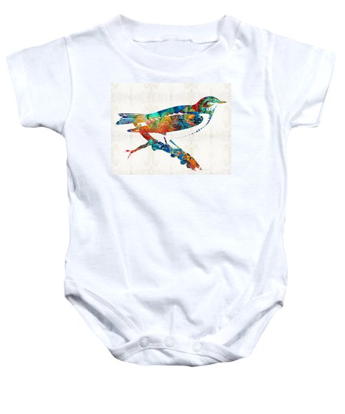 Colorful Bird Art - Sweet Song - By Sharon Cummings Baby Onesie
