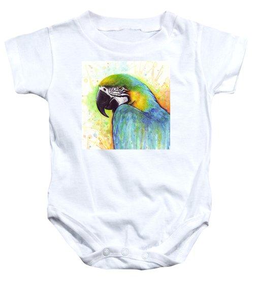 Macaw Watercolor Baby Onesie