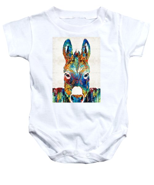 Colorful Donkey Art - Mr. Personality - By Sharon Cummings Baby Onesie by Sharon Cummings