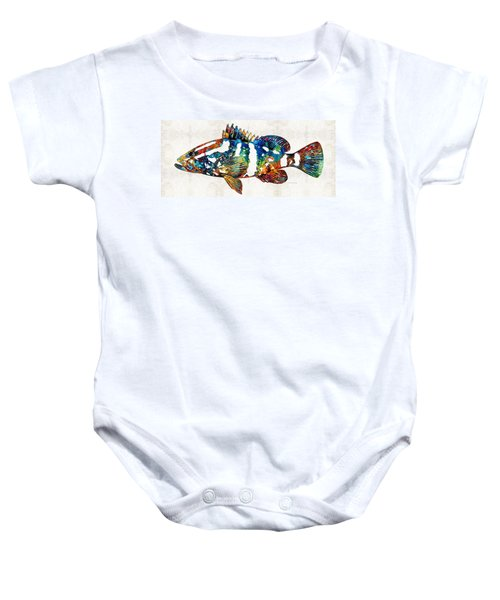 Colorful Grouper 2 Art Fish By Sharon Cummings Baby Onesie