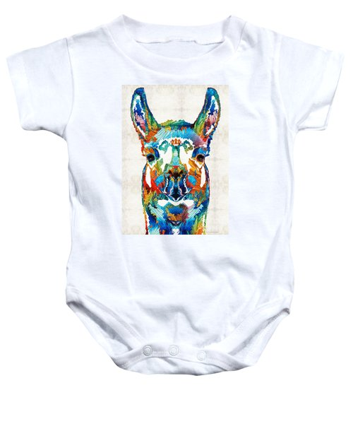 Colorful Llama Art - The Prince - By Sharon Cummings Baby Onesie by Sharon Cummings