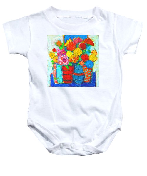 Colorful Vases And Flowers - Abstract Expressionist Painting Baby Onesie