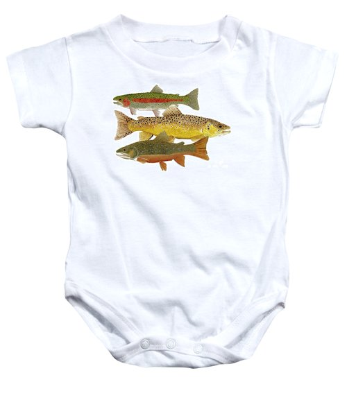 Common Trout  Rainbow Brown And Brook Baby Onesie