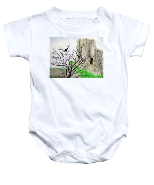 Corfe Castle And Crow Baby Onesie