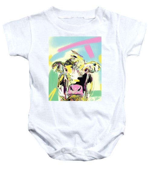 Baby Onesie featuring the painting Cow- Happy Cow by Go Van Kampen