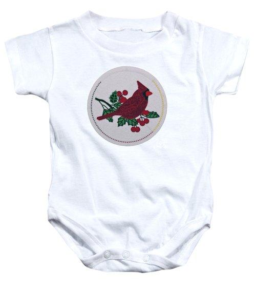 Cradleboard Beadwork Winter Cardinal Baby Onesie