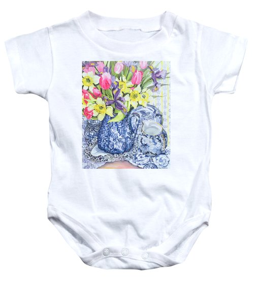 Daffodils Tulips And Irises With Blue Antique Pots  Baby Onesie