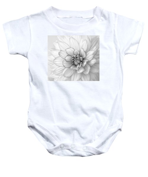 Dahlia Flower Black And White Baby Onesie