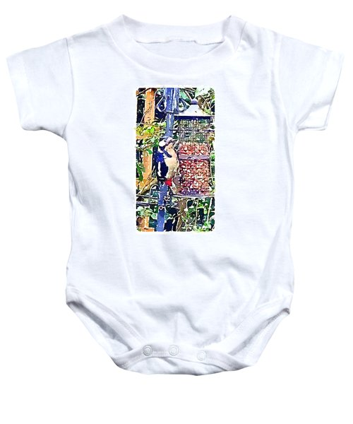 Dendrocopos Major 'great Spotted Woodpecker' Baby Onesie