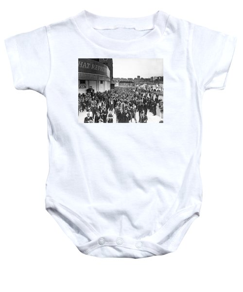 Fans Leaving Yankee Stadium. Baby Onesie by Underwood Archives