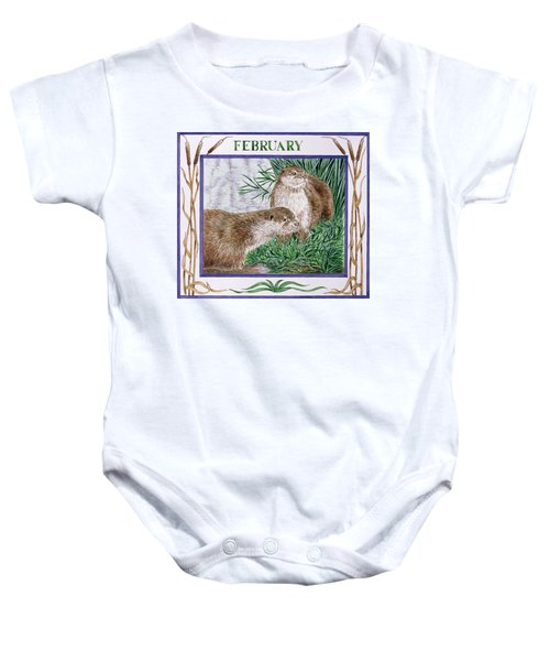 February Wc On Paper Baby Onesie by Catherine Bradbury