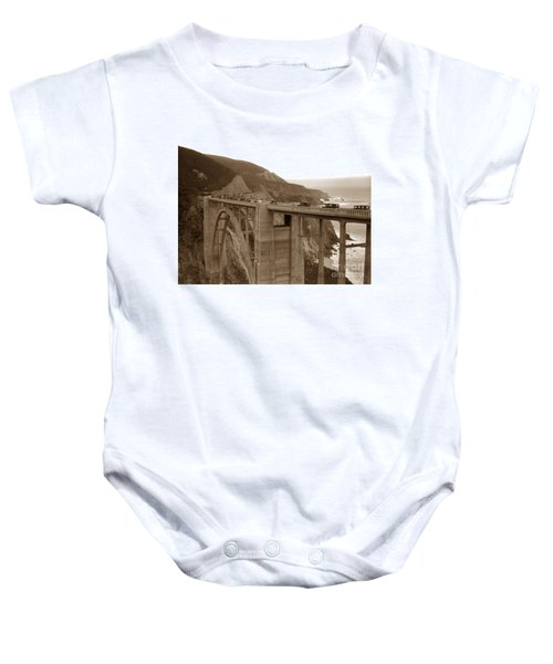 First Cars Across Bixby Creek  Bridge Big Sur California  Nov. 1932 Baby Onesie