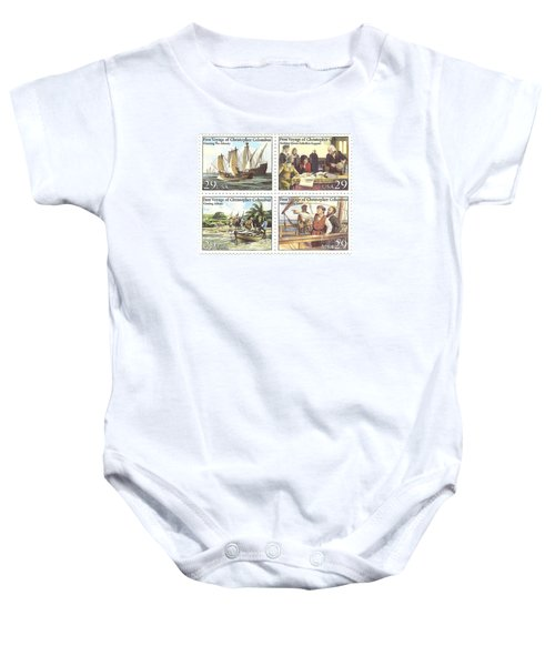 First Voyage Of Christopher Columbus Commemorative Stamp Block Baby Onesie