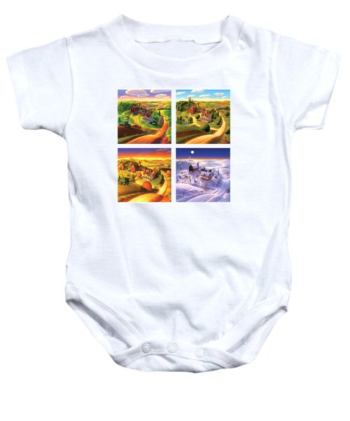 Four Seasons On The Farm Squared Baby Onesie