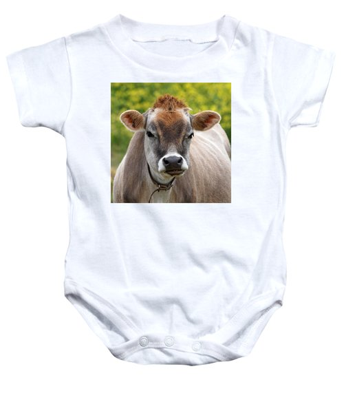 Funny Jersey Cow -square Baby Onesie by Gill Billington