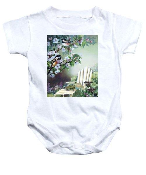 Chickadees In Blossom Tree Baby Onesie by Regina Femrite