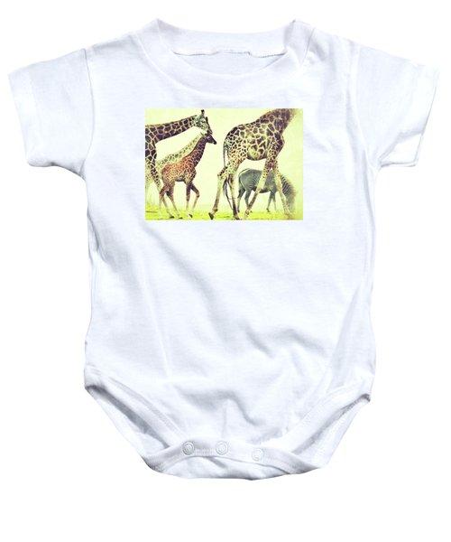 Giraffes And A Zebra In The Mist Baby Onesie