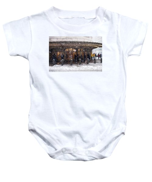 Grand Central Terminal Snow Color Baby Onesie
