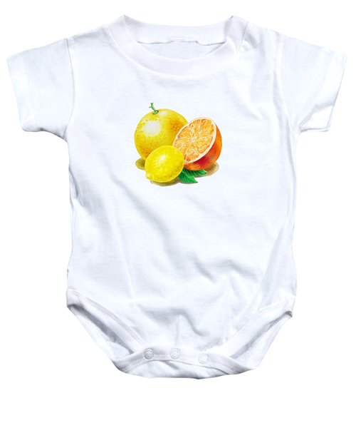 Baby Onesie featuring the painting Grapefruit Lemon Orange by Irina Sztukowski